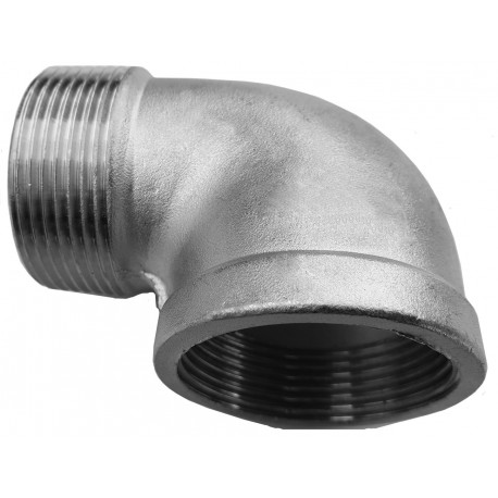 """A threaded stainless steel elbow 3/2"""" , 47,6 mm"""