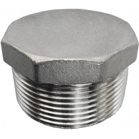 Stainless steel external thread plug 3/2 inch , 47,6 mm