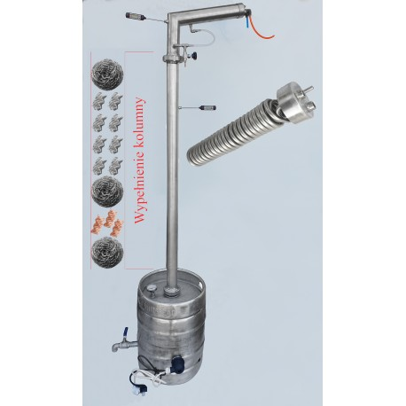 DISTILLER SMS 50 liters STAINLESS ON PIPE 76 mm - for electric
