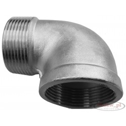 "A threaded stainless steel elbow 3/4"" , 26,3 mm"