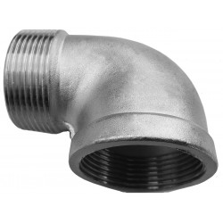"A threaded stainless steel elbow 1"" , 33 mm"